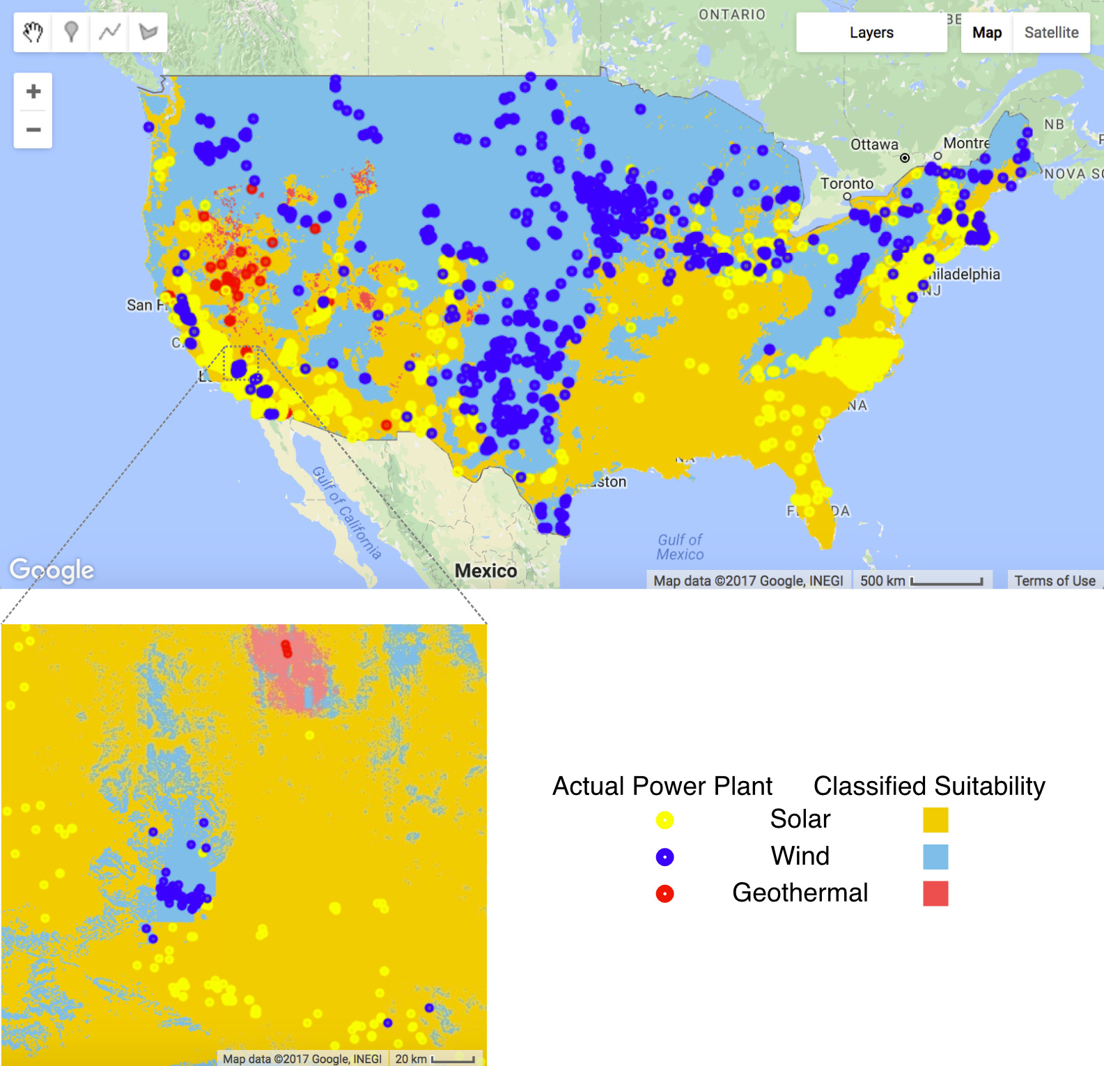 Map of the USA classified by suitability for wind, solar or geothermal energy.